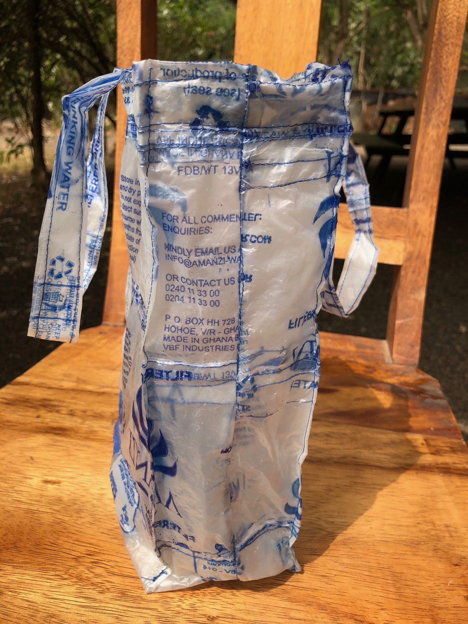 Bag made of water sachets.