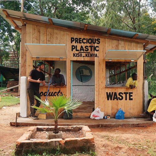 Example of a plastic recycling station