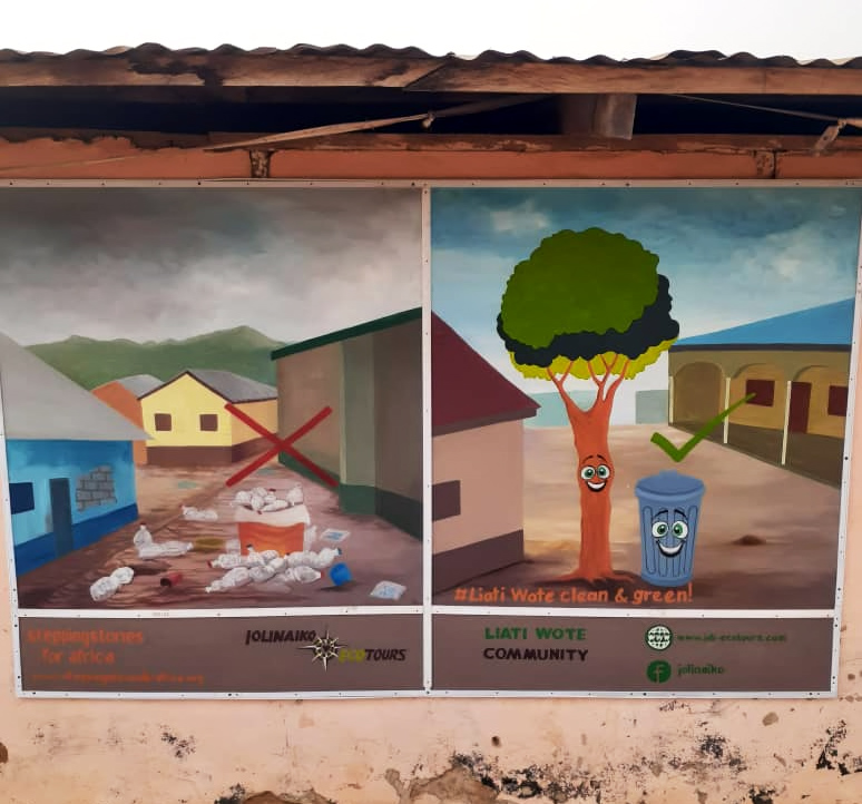This painting illustrates two communities; one that is clean and acceptable and the other that is polluted with plastic waste and unacceptable.